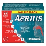 Aerius Allergy Medicine, Fast Relief, 24-Hour, Non-Drowsy, 80 Tablets