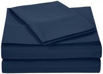 AmazonBasics Microfiber Sheet Set – Twin Extra-Long, Navy Blue