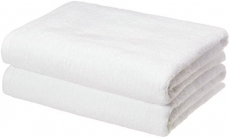 AmazonBasics Quick-Dry Bath Towels, Set of 2, White