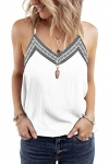 Ancapelion Women's V Neck Summer Tank Top, Embroidery White