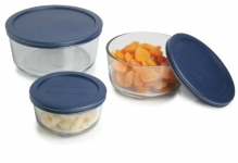 Anchor Hocking Classic Glass Food Storage Containers with Lids, Blue, 6-Piece Set