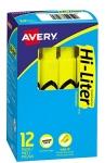Avery Hi-Liter, Chisel Tip, Fluorescent Yellow, Box of 12