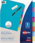 Avery Write & Erase Big Tab Binder Dividers, 8 Tabs, 1 Set, Bright Multi-Colour