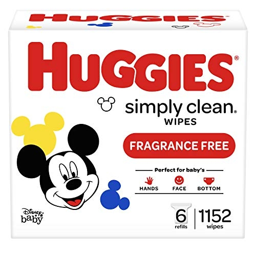 Huggies Simply Clean, UNSCENTED Baby Wipes, 6 Refill Packs, 1152 Count
