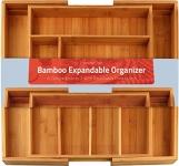 Bamboo Expandable Cutlery Tray – Silverware & Utensils Organizer