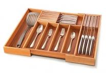 Bambusi Bamboo Silverware Drawer Organizer with 2 Removable Knife Blocks