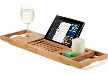 Bambusi Bathtub Caddy Bamboo Bath Tray with Extending Sides, Reading Rack, Tablet Holder, Cellphone Tray and Wine Glass Holder