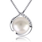 B.Catcher Silver Necklace Pearl Freshwater Pearl Heart Pendant