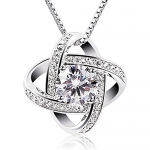 B.Catcher Women Sterling Silver Necklaces Cubic Zirconia Pendant Gemini Necklace