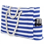 Truebest Large Canvas Beach Tote Bag with Zipper