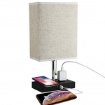Bedside Table Lamp with Wireless Charging USB Charging Ports and Outlets Power Strip