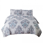 Bedsure Damask Duvet Cover Set with Zipper, Grey Design, Full/Queen – 3 Pieces