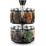 Belwares 12 Bottles Spice Rack Glass Jars, Revolving Countertop Carousel Herbs and Spices Set