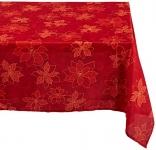 Benson Mills Poinsettia Scroll Printed Fabric Tablecloth