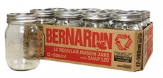 Bernardin Regular Mouth 500ml Mason Jars-Box of 12, 500ml,