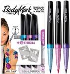BIC BodyMark Temporary Tattoo Marker, Tattoo Pen, New School, Assorted Colors, 3-Count