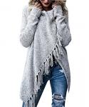 BIUBIU Women's Long Sleeve Tassels Slash Hem Loose Sweater Poncho/Cardigan