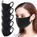 Black Cloth Face Cover, for Men and Women (5PC)