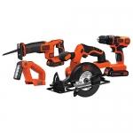 BLACK+DECKER 20V Max Drill/Driver Circular and Reciprocating Saw Worklight Combo Kit