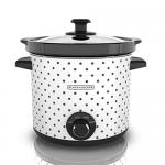 BLACK+DECKER Slow Cooker, 4 Quart, Black/White Dot Pattern