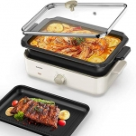 CalmDo Electric Skillet, Multifunctional Griddle with 2 Interchangeable Non-Stick Pans