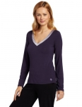 Calvin Klein Women's Essentials With Satin Long-Sleeve V-Neck Top