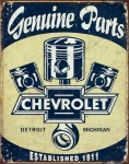 Chevrolet Chevy Genuine Parts Pistons Distressed Retro Vintage Tin Sign