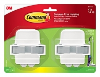 Command 17007-HW2ES Broom & Mop Grippers, White with Grey Band