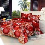 Decdeal Christmas Bedding Set 3D Printed Duvet Cover + 2pcs Pillowcases + Bed Sheet Set