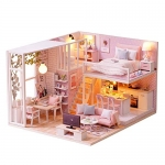 Decdeal DIY Miniature Dollhouse Kit 3D Pink Wooden House Room Toy Furniture LED Lights