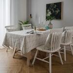 "Decouverte Rectangular Tablecloth White Cotton Checkered, 55""x98"""