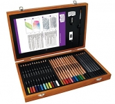 Derwent Academy Wooden Box Art Kit, 35 Pieces Including 30 Pencils