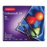 Derwent Colorsoft Pencils, 4mm Core, Metal Tin, 24 Count