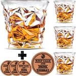 Diamond Whiskey Glasses – Set of 4 – by Vaci + 4 Drink Coasters