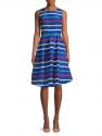 HBC Stripes Holiday Multistripe Sleeveless Midi Dress
