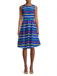 HBC Stripes Holiday Multistripe Sleeveless Midi Dress