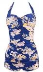 Ebuddy Women Vintage Style Boy-Leg One Piece Ruched Monokinis Swimsuit