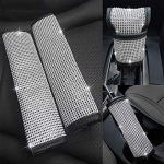 EING 4pcs/Set Crystal Diamond Seat Belt Cover & Gear Shift Knob Cover & Handbrake Cover