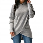 Elfremore Women Long Sleeve Wrap Hoodie Sweatshirt Asymmetric Hem Pullover Tops