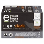 Ethical Bean Fair Trade Organic Coffee, Superdark French Roast: Keurig Compatible – 72 Pods (6 Boxes of 12 Pods)
