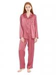 Femofit Satin Pajama Set for Women Long Sleeve Button Down Sleepwear