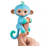 Fingerlings 2Tone Monkey – Charlie (Blue with Green Accents) – Interactive Baby Pet – by WowWee