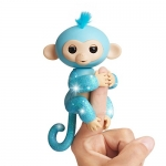 Fingerlings Glitter Monkey – Amelia (Turquoise Blue Glitter) – Interactive Baby Pet – by WowWee