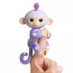 Fingerlings Glitter Monkey – Kiki (Purple Glitter) – Interactive Baby Pet – by WowWee