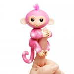 Fingerlings Glitter Monkey – Rose (Pink Glitter) – Interactive Baby Pet – by WowWee