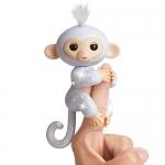 Fingerlings Glitter Monkey – Sugar (White Glitter) – Interactive Baby Pet – by WowWee