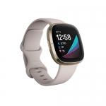 Fitbit Sense Advanced Smartwatch, Lunar White/Soft Gold