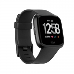 Fitbit Versa smartwatch, black/black aluminum, one size (s & l bands included)