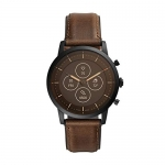 Fossil Men's 42MM Collider Stainless Steel and Leather Hybrid HR Smart Watch
