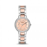 Fossil Women's Virginia Stainless Steel Crystal-Accented Dress Quartz Watch